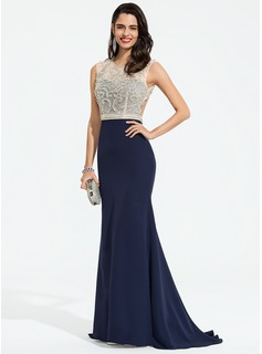 Trumpet/Mermaid Scoop Neck Sweep Train Stretch Crepe Prom Dresses With Beading Sequins (018195424)