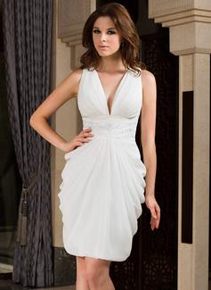 Sheath/Column V-neck Knee-Length Chiffon Cocktail Dress With Ruffle Beading (020037401)