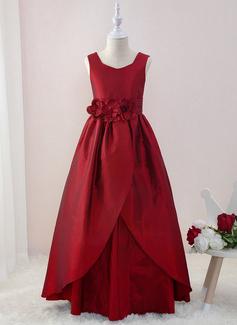 Платье Для Балла/Принцесса Длина до пола Нарядные платья для девочек - Тафта Без Рукавов V-образный с Цветы (010195344)