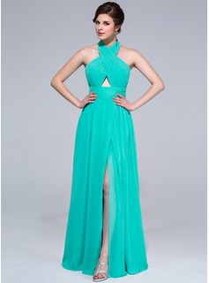A-Line/Princess Halter Floor-Length Chiffon Holiday Dress With Ruffle Split Front (007037267)