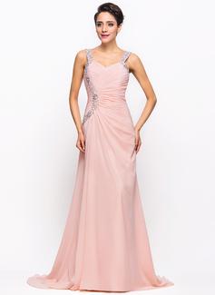 Vestidos princesa/ Formato A Amada Sweep/Brush trem Tecido de seda Vestido de festa com Pregueado Beading lantejoulas (017022730)