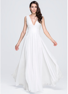 A-Line/Princess V-neck Floor-Length Chiffon Evening Dress With Ruffle (017071582)