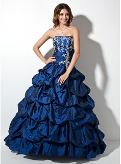 Ball-Gown Sweetheart Floor-Length Taffeta Quinceanera Dress With Ruffle Beading Appliques Lace Sequins (021003138)