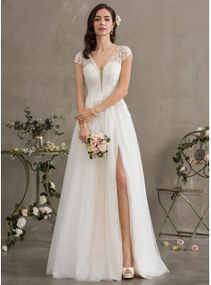 A-Line V-neck Floor-Length Tulle Wedding Dress (002186403)