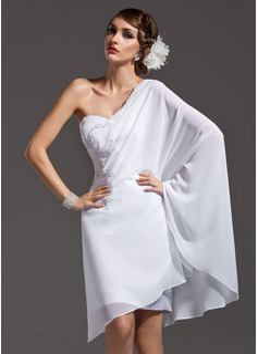 Sheath/Column One-Shoulder Asymmetrical Chiffon Holiday Dress With Beading (020036571)