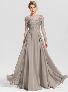 A-Line Scoop Neck Floor-Length Chiffon Evening Dress With Beading Sequins (017153635)