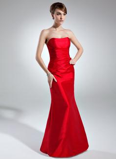 Trompete/Sereia Amada Longos Tafetá Vestido de madrinha com Pregueado (007004262)