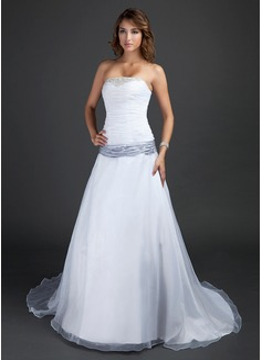 A-Line/Princess Strapless Court Train Organza Wedding Dress With Ruffle Sash Beading (002015380)