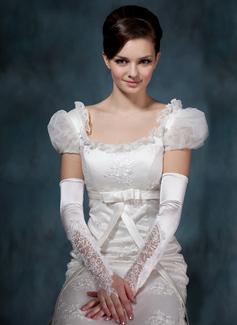 Elastic Satin Opera Length Bridal Gloves (014020514)