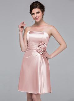 Платье-чехол В виде сердца Длина до колен Шармёз Платье Подружки Невесты с Цветы (007037227)