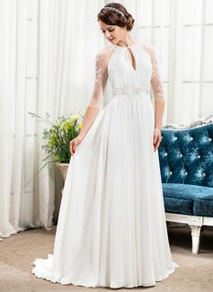 A-Line/Princess Scoop Neck Sweep Train Chiffon Wedding Dress With Ruffle Beading Sequins (002057489)