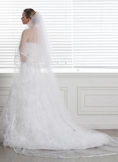 Duas camada Catedral véus de noivas com Borda com tira (006004370)