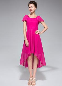 Corte A Decote redondo Assimétrico Tecido de seda Vestido para a mãe da noiva com Babados em cascata (008042831)