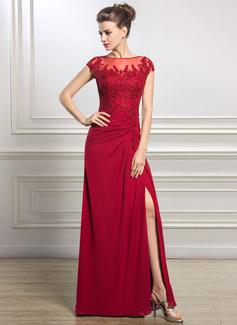 Tubo Decote redondo Longos Tecido de seda Vestido para a mãe da noiva com Pregueado Beading Apliques de Renda lantejoulas Frente aberta (008056834)