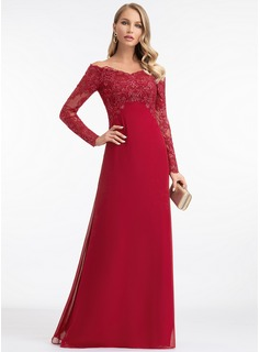 A-Line Off-the-Shoulder Floor-Length Chiffon Evening Dress With Sequins (017198641)