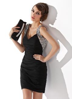 Платье-чехол V-образный Мини-платье шифон Коктейльные Платье с Рябь развальцовка блестки (016020949)