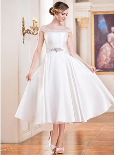 Ball-Gown Off-the-Shoulder Tea-Length Satin Wedding Dress With Beading Sequins (002052698)