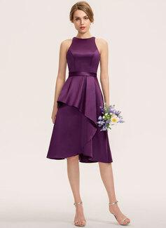 Трапеция Круглый асимметричный Атлас Платье Подружки Невесты (007190707)