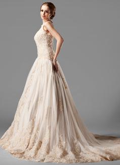Платье для Балла С бретелью через шею Церковный шлейф Тюль Кружева Свадебные Платье с развальцовка (002000154)