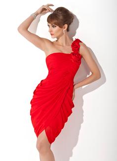 Sheath/Column One-Shoulder Knee-Length Chiffon Cocktail Dress With Ruffle Flower(s) (016005265)