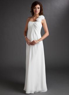 Império Um ombro Longos Tecido de seda Vestido para madrinha grávida com Pregueado fecho de correr (045022471)