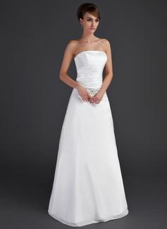 A-Line/Princess Strapless Floor-Length Taffeta Wedding Dress With Ruffle Beading (002001666)