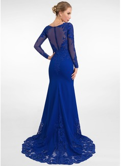Trumpet/Mermaid V-neck Sweep Train Stretch Crepe Evening Dress (017198650)