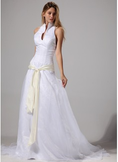 Vestidos princesa/ Formato A Cabresto Cauda de sereia Organza de Vestido de noiva com Cintos (002004777)