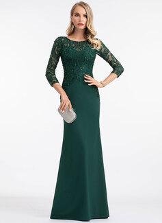 Sheath/Column Scoop Neck Floor-Length Stretch Crepe Evening Dress With Sequins (017198646)