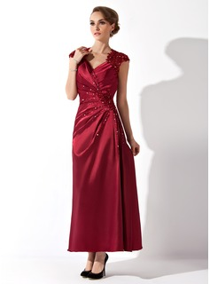 A-Line V-neck Ankle-Length Charmeuse Mother of the Bride Dress With Ruffle Lace Beading (008013961)