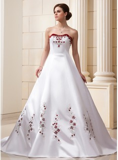 Ball-Gown Sweetheart Cathedral Train Satin Wedding Dress With Embroidered Beading Sequins (002011569)