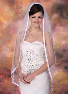Uma camada Valsa nupcial véus com Borda com tira (006003952)