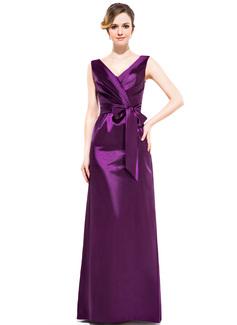 Платье-чехол V-образный Длина до пола Шармёз Платье Подружки Невесты с Рябь Бант(ы) (007050060)