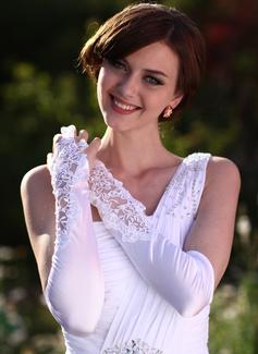 Elastic Satin Elbow Length Bridal Gloves (014005531)