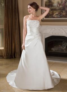 A-Line/Princess Strapless Chapel Train Satin Wedding Dress With Ruffle Lace Beading (002012609)