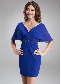 A-Line/Princess V-neck Short/Mini Chiffon Cocktail Dress With Ruffle Beading (016008422)