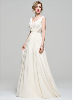 A-Line/Princess V-neck Floor-Length Chiffon Bridesmaid Dress With Ruffle Lace Beading Sequins (007074167)