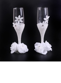 Simple Design/Classic Toasting Flutes With Ribbon Bow (126199816)