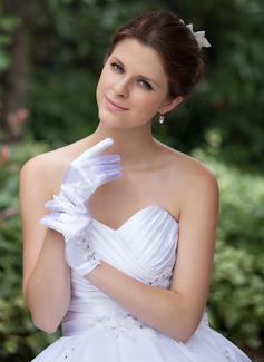 Elastic Satin Wrist Length Bridal Gloves (014026285)