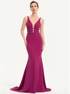 Trumpet/Mermaid V-neck Sweep Train Jersey Evening Dress With Beading (017196742)