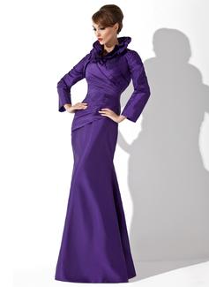 Trumpet/Mermaid High Neck Floor-Length Taffeta Mother of the Bride Dress With Ruffle (008006080)