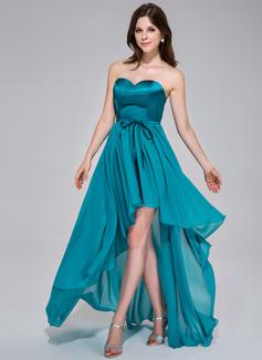 A-Line/Princess Sweetheart Asymmetrical Chiffon Charmeuse Holiday Dress With Ruffle Bow(s) (020037389)