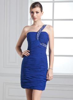 Sheath/Column One-Shoulder Short/Mini Chiffon Holiday Dress With Ruffle Beading (020003281)