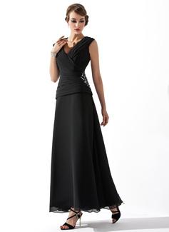 Трапеция/Принцесса V-образный Длина по щиколотку шифон Платье Для Матери Невесты с Рябь Бисер (008005756)