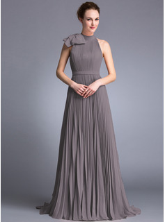 A-Line/Princess Scoop Neck Sweep Train Chiffon Evening Dress With Bow(s) Pleated (017062984)
