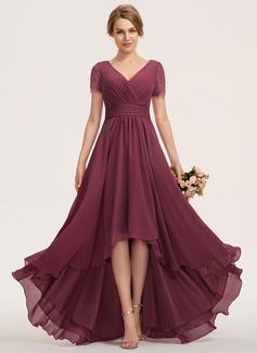 A-Line V-neck Asymmetrical Chiffon Lace Bridesmaid Dress (007190720)