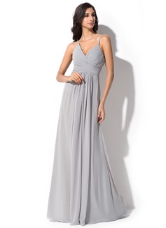 A-Line/Princess V-neck Floor-Length Chiffon Bridesmaid Dress With Ruffle (007051369)