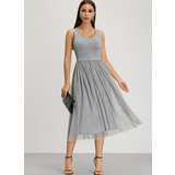 A-Line Scoop Neck Tea-Length Homecoming Dress (022209565)