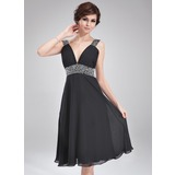 A-Line/Princess V-neck Knee-Length Chiffon Homecoming Dress With Ruffle Beading (022011115)