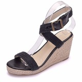 Women's Mesh Wedge Heel Peep Toe Sandals Wedges With Buckle Hollow-out (047208081)